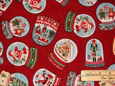 Snow Globe Gingerbread Nutcracker Penguin Snowman Christmas Fabric by the 1/2 Yd