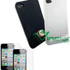 2X Pellicola+ 2X Custodia per Apple iPhone 4 4G back cover rigida BIANCA NERA