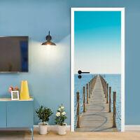 3D Self-adhesive Blue Sky Pier Wood Bridge Door Stickers Mural Wallpaper Decor