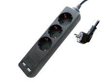 Regleta de Enchufes Zapatilla Eléctrica Con 2 USB Y 3 Lugares Schuko 10A Largo