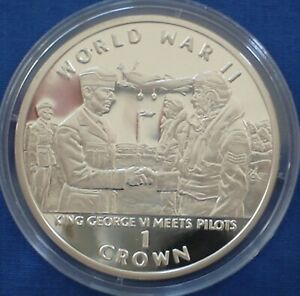 Gibraltar 1 crown Silver Proof 1994 World War II King George Meets Pilots