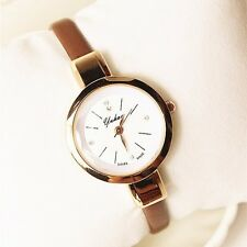 Faux Leather Womens Rose Gold Case Coffee Delicate Analog Quartz Wrist Watches