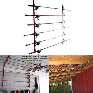 Fishing Rod Rack Garage Ceiling Wall Mount Pole Reel Holder Organizer Storage