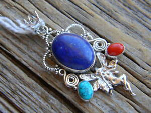 """Sterling silver pendant red coral, lapis lazuli  2"""" long free 18"""" cobra  chain"""