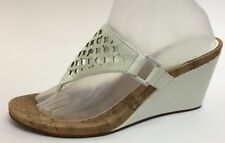 COACH White Patent Leather Signature BROOKK Wedge Slide Flip Flop Sandal 9.5 B,M