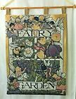 """FAIRY GARDEN Woven Wall Hanging Tapestry Lined 25x 34"""" Fairies Flowers Wood Pole"""