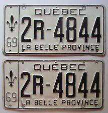Quebec 1969 License Plate PAIR HIGH QUALITY # 2R-4844