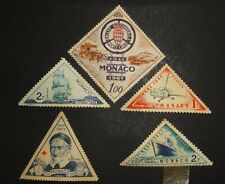 5 FIVE VINTAGE TRIANGLE MONACO POST POSTAGE STAMPS