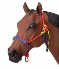 Tough 1 Miniature Horse Rope Halter Knotted Rainbow Color Size Large