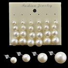 Lot 12 Pairs Fashion Women White Pearl Bead Charm Earrings Ear Stud Jewelry Gift