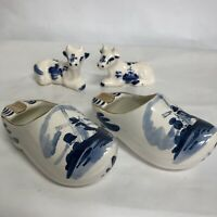 Delfts Blauw Hand Painted Holland 2 Clogs/Ashtrays Windmill Salt/Pepper Shakers