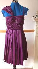 NEW Trinny & Susannah Tall Sz10 Purple satin Pleated Dress