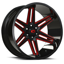 20x10 Vision 363 Razor 8x180 -25 Black Milled Red Wheels Rims Set(4)