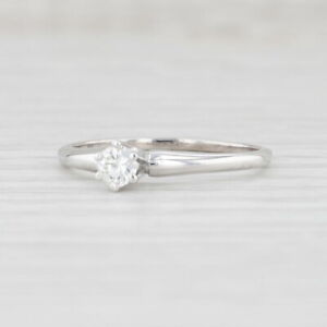 0.21ct Diamond Engagement Ring 14k White Gold Size 8.5 Round Brilliant Solitaire