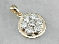 "1.00 Ct Cluster Diamond Halo Drop Pendant Fine 14k Yellow Gold GP 18"" Necklace"
