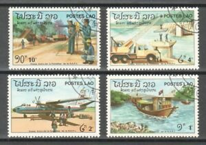 LAOS 1984 9TH ANNIV. OF NATIONAL DAY COMP. SET OF 4 STAMPS SC#608-611 FINE USED