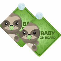 Baby Sloth On Board Twin Pack of Baby on Board Car Signs (2pcs) Boy/Girl Green