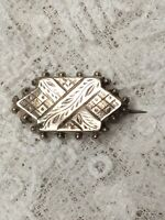 Tiny Victorian Brooch Aesthetics Movement Etched 1870s Antique Pin Jewellery
