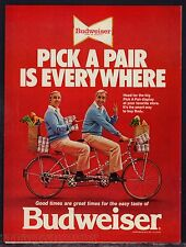 1978 BICYCLE built for Two  2 Men Budweiser Beer AD