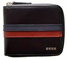TOD'S Black Striped Leather Zip Wallet, Black ITALY $475