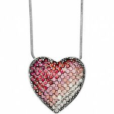 NWT Brighton GLISSANDO Pink Crystal Heart Silver Necklace MSRP $98