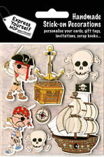 3D Handmade Pirate Stickers for Boys, Scrapbooking Embellishment, Card Making