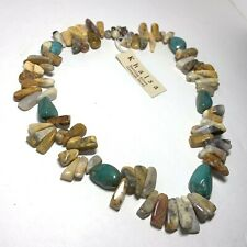 """NWT Khalsa STERLING SILVER 925 Chunky Genuine STONE NECKLACE Polished Spikes 20"""""""