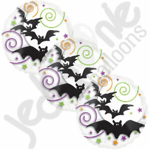 3 pc Bats Colorful Swirl Balloon Bouquet Happy Halloween Party Decoration Spooky