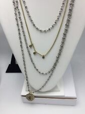 $59 Lucky Brand Pave Peacock Teardrop Multi Layer Necklace F-17
