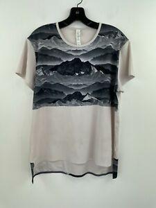 Lululemon Mountain Scape Photorealistic Shirt Top 12 Womens Short Sleeve B37-10