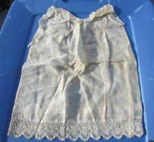 """Antique Doll Dress Gown Fleur De Lis Embroidered Lace Gorgeous Baby Dolls 13""""L"""