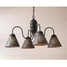 Primitive new American black wood chandelier w/ black punched tin shades / nice