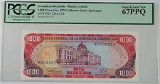 1978 Dominican Republic 1000 Pesos Oro Specimen Note SCWPM#124a-CS4 PCGS 67 PPQ