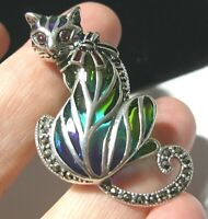 Large Sterling Silver VINTAGE STYLE PLIQUE A JOUR Ruby Gem Stone CAT PIN BROOCH