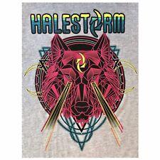 Halestorm Neon Wolf Gray Graphic T Shirt Graphic Back Size Medium