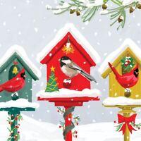 """Weihnachten Vogelhäuser Rot Weiß 3-PLY 20 Papierservietten 33cmx13 """"– 33X33CM"""