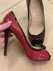 christian louboutin Python Red Shoes