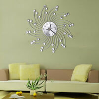 FJ- MODERN METAL RHINESTONES ROUND SILENT WALL CLOCK BATTERY POWER HOME DECOR FA