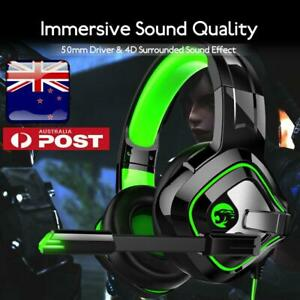 4D Stereo High-end LED Pro Gaming Headset MIC Headphones AU