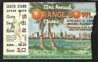 1956 Orange Bowl college football ticket Maryland Terrapins v Oklahoma Sooners