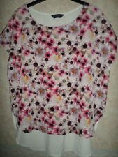 DOROTHY PERKINS FLORAL FRONT BLOUSE WITH PLAIN CREAM IVORY JERSEY BACK SIZE 16