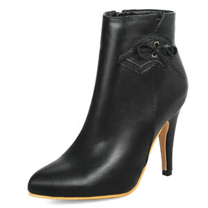 Women's Winter Ankle Boots Leather Zipper Chunky Heel Booties Shoes US 6 Black