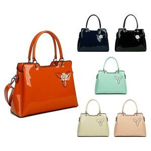 Smart Patent Tote Commuting Shoulder Handbag Woman Lady Faux Leather S-Medium UK