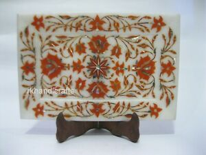 9 x 6 Inches White Marble Collectible Tray Carnelian Stone Inlay Serving Tray