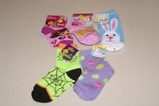 LOT OF 5 GIRLS SZ 5-6.5 HALLOWEEN, DORA EXPLORER, DISNEY, & EASTER SOCKS NWT
