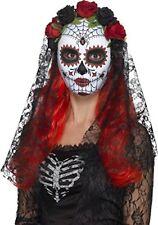 Disfraz de Halloween Día los muertos Signorita Rosa Máscara con velo Smiffys
