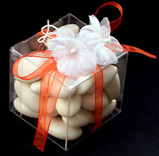 75 5cmsq Bomboniere favor clear plastic box wedding almonds soap chocolate gift