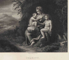 Allegory of Charity by Julio (Giulio) Romano- 1832 Engraved Print Plus BONUS
