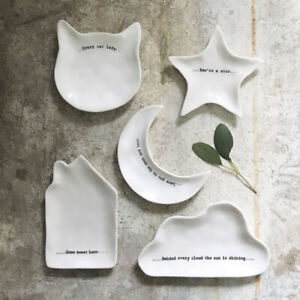 East Of India: Wobbly White Porcelain Ring Dish Cloud Star Moon Cat House Shapes