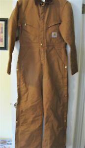 Carhartt Men's Carhartt Brown DUCK Quilt Lined Coverall Jumpsuit - measurements